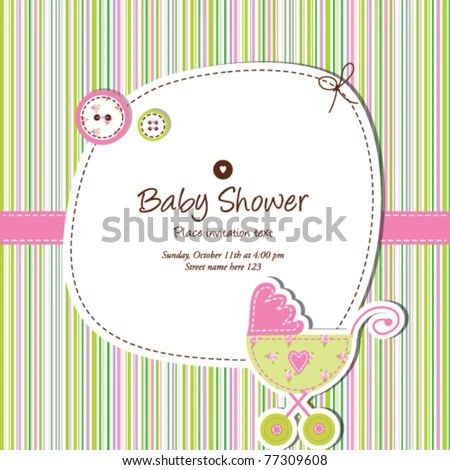 Baby Shower Invitation Template Cute Vector Stock Photo (Photo - baby shower invite templates