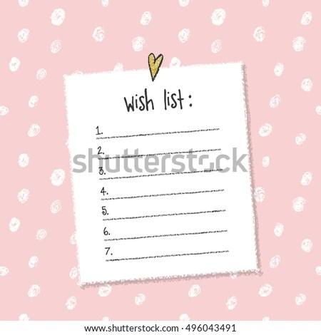 Christmas Wish List Template Hand Drawn Stock Vector (2018 - christmas wish list paper