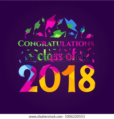 Vector Illustration Congratulations On Graduation Class Stock Vector