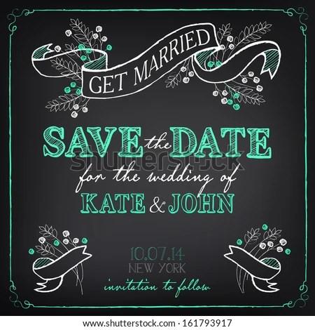 Wedding Invitation Template Chalkboard Style Vector Stock Vector - chalk board invitation template