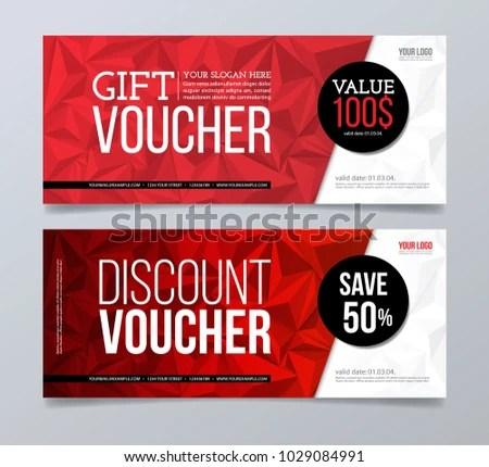 Gift Discount Voucher Design Template Red Stock Vector 1029084991