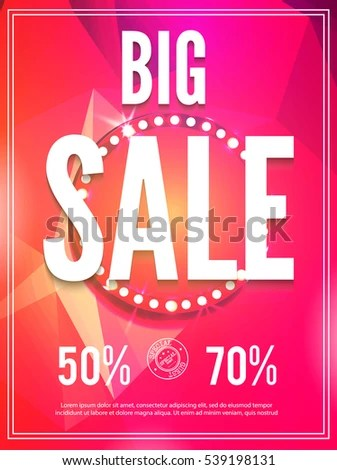 Sale Poster Template Colorful Triangle Design Stock Vector 539198131