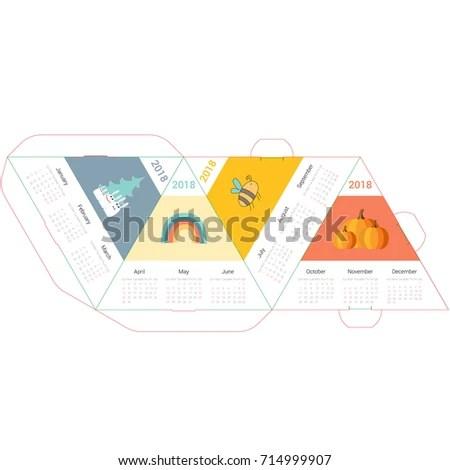 Template Cute Pyramid Calendar 2018 Cartoons Stock Illustration - pyramid template