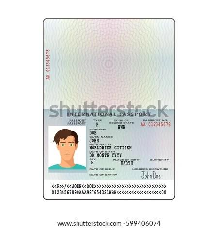 Vector International Passport Template Sample Personal Stock Vector - passport template