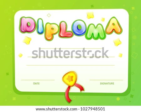 Cartoon Kids Certificate Diploma Template Vector Stock Photo (Photo