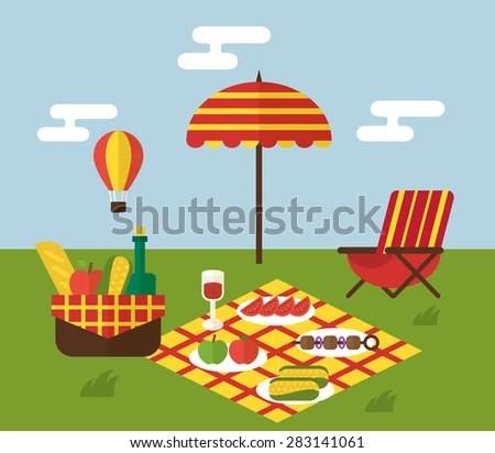 Summer Picnic Invitation Template Food Basket Stock Vector 283141061