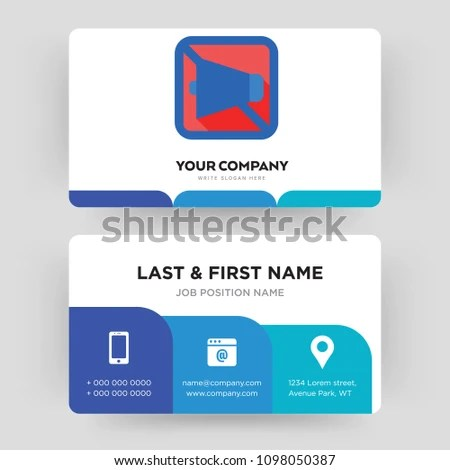 Mobile Silent Business Card Design Template Stock Vector 1098050387