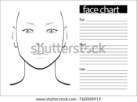 Face Chart Makeup Artist Blank Template Stock Vector 404091133 - eye chart template