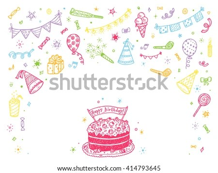 Birthday Party Elements Vector Set Happy Stock Vector 414793648 - birthday cake card template