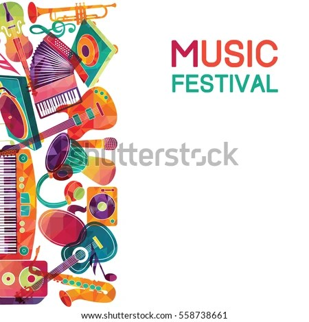 Colorful Music Background Music Instruments Vector Stock Vector HD