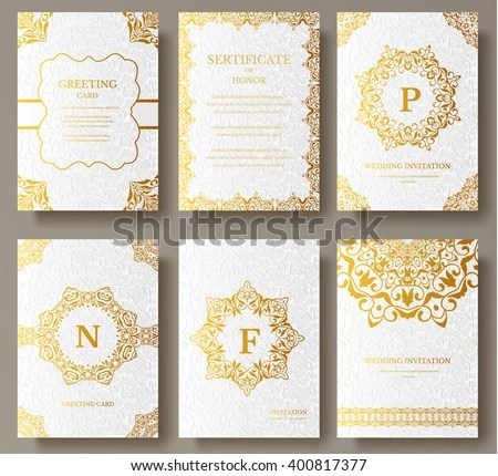 Set Luxury Gold Artistic Pages Logo Stock Vector HD (Royalty Free