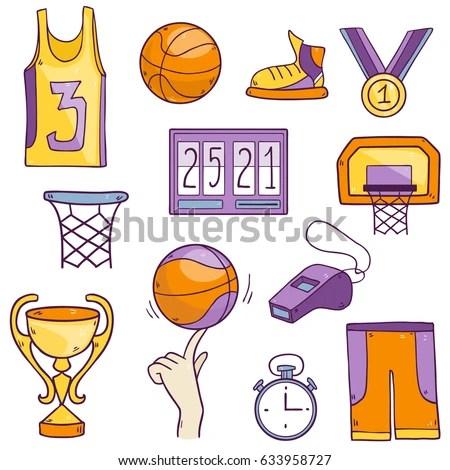 Vector Cartoon Drawing Collection Basketball Sport Stock Vector