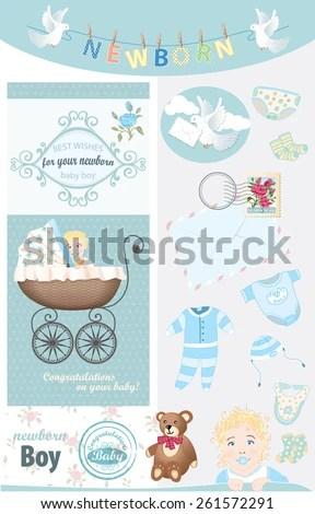 Newborn Baby Boy Congratulations Vector Vintage Stock Vector