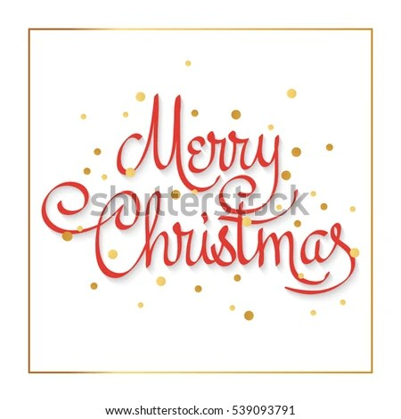 Merry Christmas Card Template Christmas Golden Stock Vector