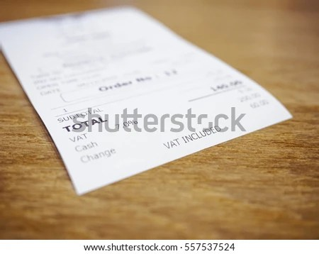 Receipt Bill Payment On Table Total Stock Photo (100 Legal - legal receipt of payment