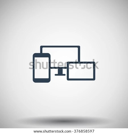 Flat Black Responsive Media Design Icon Stock Vector 376858597 - Responsive Media