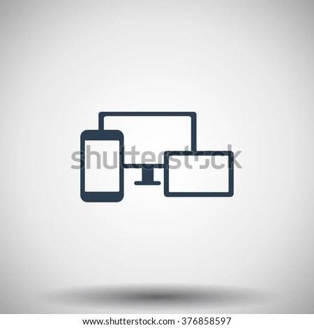 Flat Black Responsive Media Design Icon Stock Vector 376858597