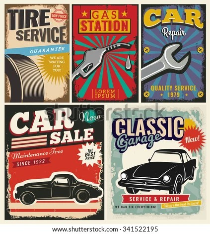 Vintage Transportation Signs Collection Car Service Stock Vector - car sale sign template