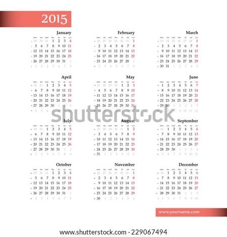Vector Template Calendar 2015 Black Letters Stock Photo (Photo