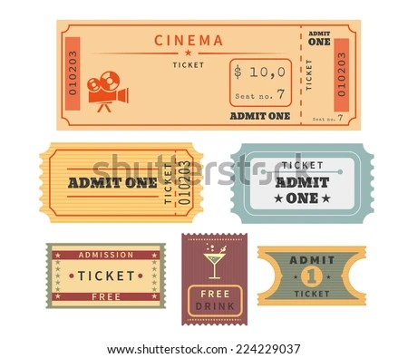 Retro Ticket Template Set Template Vector Stock Vector 224229037 - movie theater ticket template