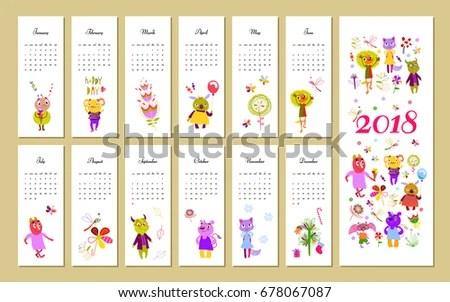 Monthly Kids Calendar 2018 Funny Monsters Stock Vector 678067087 - kids calendar template