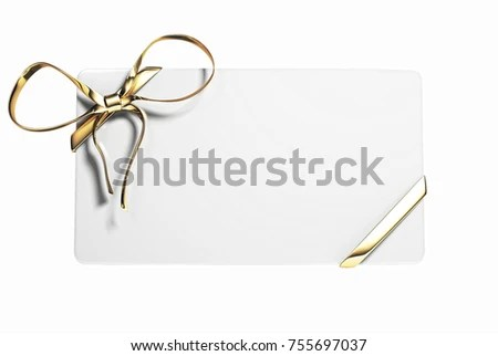 Blank Gift Voucher Card Golden Ribbon Stock Illustration 755697037 - blank voucher