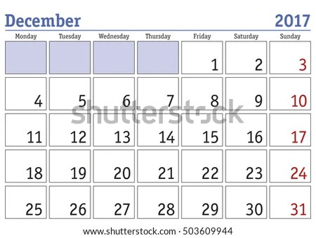 Simple Digital Calendar December 2017 Vector Stock Vector 503609944 - december monthly calender