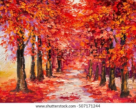 Fall Birch Tree Wallpaper Oil Painting Colorful Autumn Trees Impressionism Stock