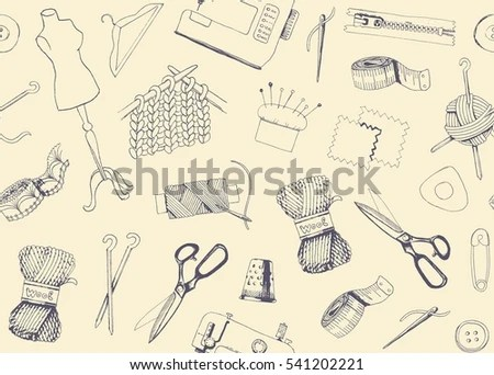 Seamless Background Sketches Tools Materials Sewing Stock Photo - background sketches