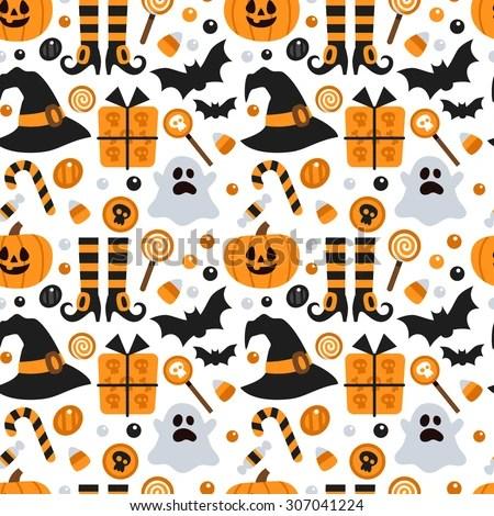 Seasonal Fall Coffee Desktop Wallpaper Vector Seamless Pattern Halloween Pumpkin Ghost Stock