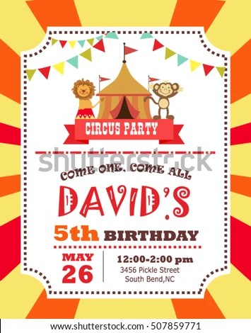 Circus Birthday Invitation Card Stock Vector (2018) 507859771 - circus party invitation