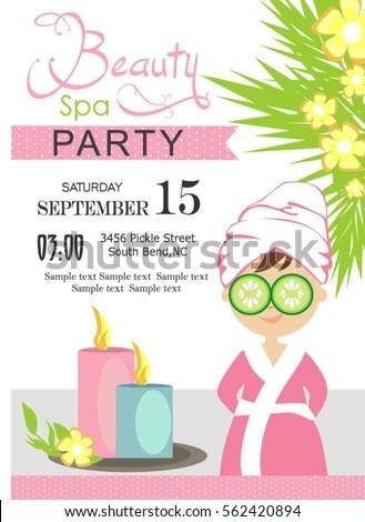 Spa Party Invitation Card Stock Vector (2018) 562420894 - Shutterstock - spa invitation