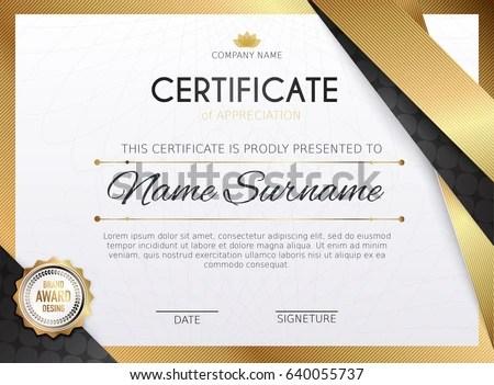 Certificate Template Golden Decoration Element Design Stock Vector - graduation certificate