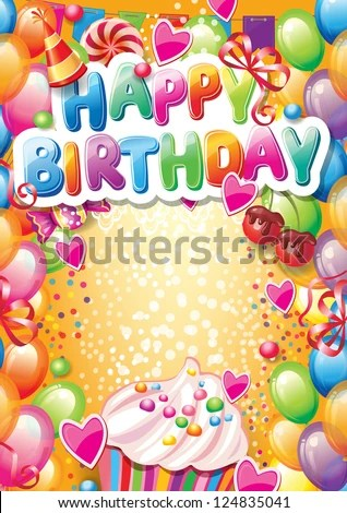 Template Happy Birthday Card Place Text Stock Vector 124835041 - template for a birthday card