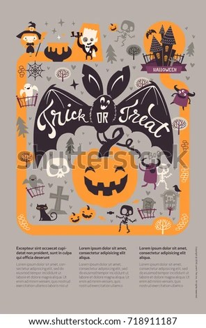 Holiday Happy Halloween Flyer Template Funny Stock Vector 718911187 - halloween flyer template