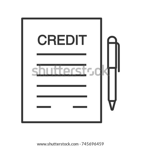 Credit Agreement Contract Glyph Icon Silhouette Stock Vector - credit agreement