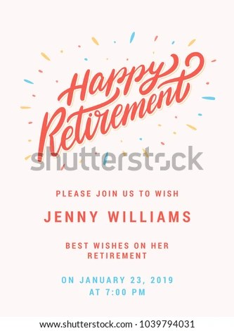 Happy Retirement Party Invitation Template Stock Vector 1039794031