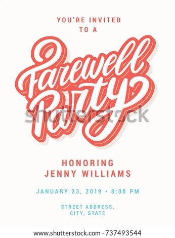 Farewell Party Invitation Template Stock Vector 737493544 - Shutterstock - goodbye party invitation templates