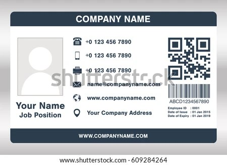Simple Blue Employee Id Card Template Stock Vector 609284264 - id card template
