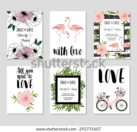 Collection 6 Cute Card Templates Wedding Stock Vector 293731607 - save the date birthday template