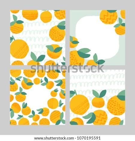 Set 4 Cute Backgrounds Orange Fruits Stock Vector (2018) 1070195591