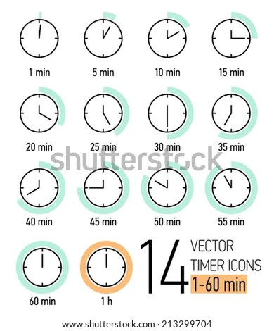 Vector Set Timer Icons Light Turquoise Stock Vector 213299704