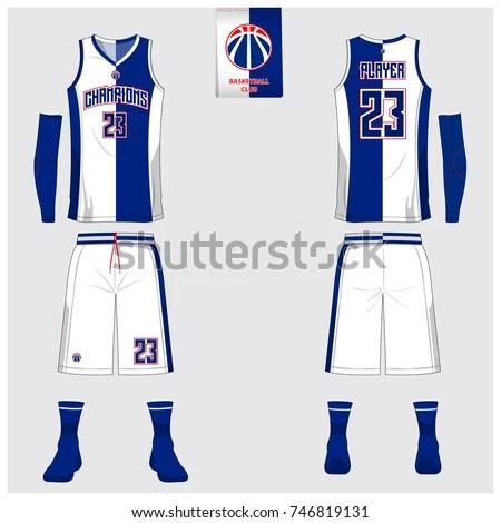 Basketball Jersey Template Design Blue White Stock Vector (2018