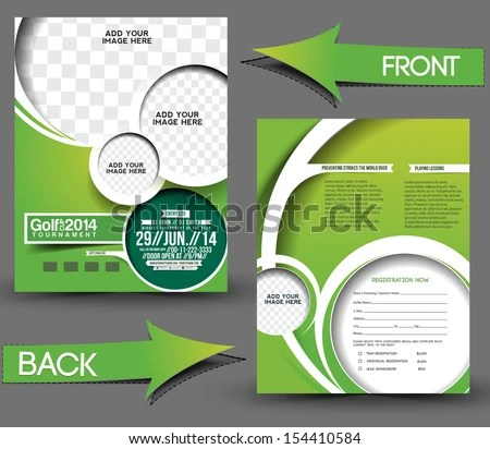 Golf Tournament Front Back Flyer Template Stock Photo (Photo, Vector - golf tournament flyer template