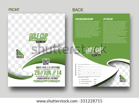 Golf Tournament Front Back Flyer Template Stock Vector 154410584 - golf tournament flyer template