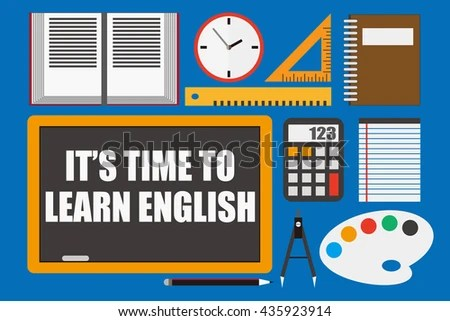 Time Learn English Education Concept Stock Vector (Royalty Free