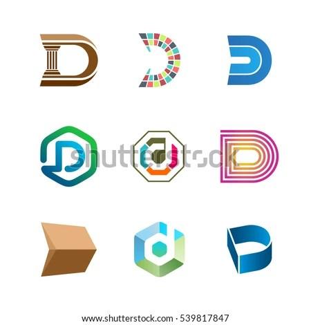 Letter D Logo Set Color Icon Stock Photo (Photo, Vector