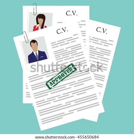 Cv Concept Resume Photo Documents Employment Stock Illustration