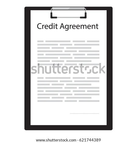 Vector Illustration Credit Contract Agreement Document Stock - credit agreement