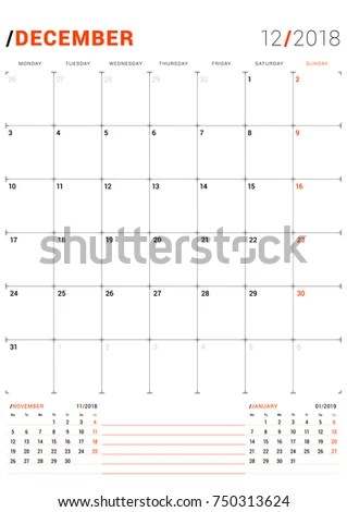 December 2018 Vector Print Template Monthly Stock Vector 750313624